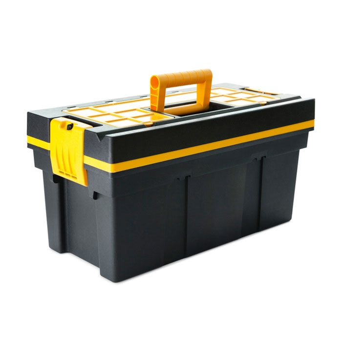 18 in. Plastic Tool Box with Removable Trays